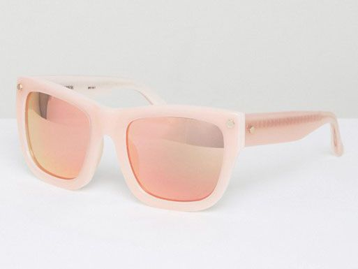 Peach Mirrored Lens Square Sunglasses