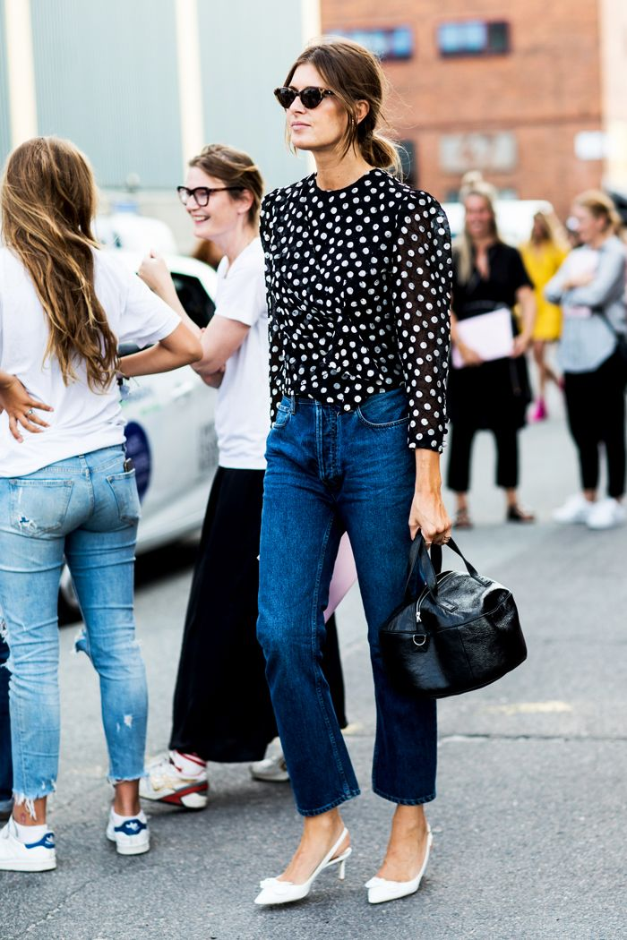 Polka-dot top and jeans