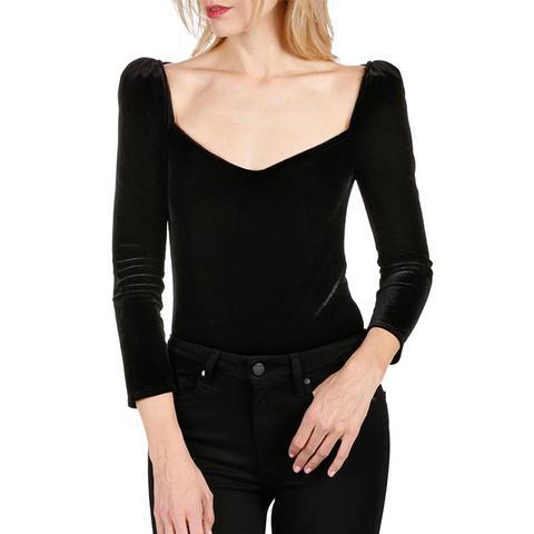 Delsie Stretch Velvet Bodysuit