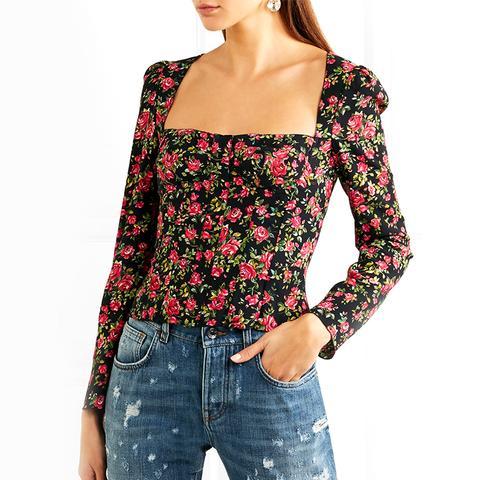 Roseline Floral-Print Crepe Bustier Top
