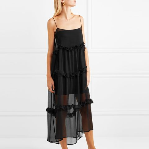 Fairytale Ruffled Crinkled Silk-Chiffon Maxi Dress