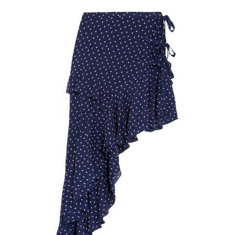 Chet Asymmetric Ruffled Printed Georgette Skirt