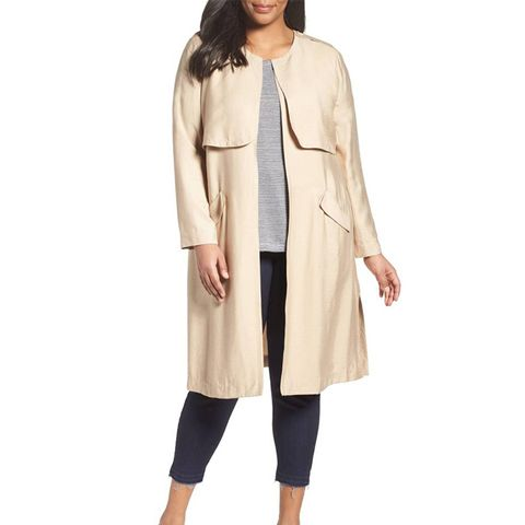 Long Open Front Trench Coat