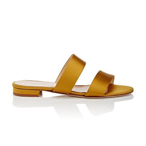 Satin Double-Band Slide Sandals