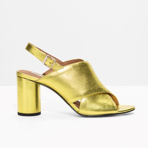 Metallic Wide Strap Sandalette