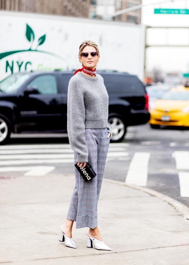 Sweater + Plaid Pants + High-Heel Mules + Neck Scarf