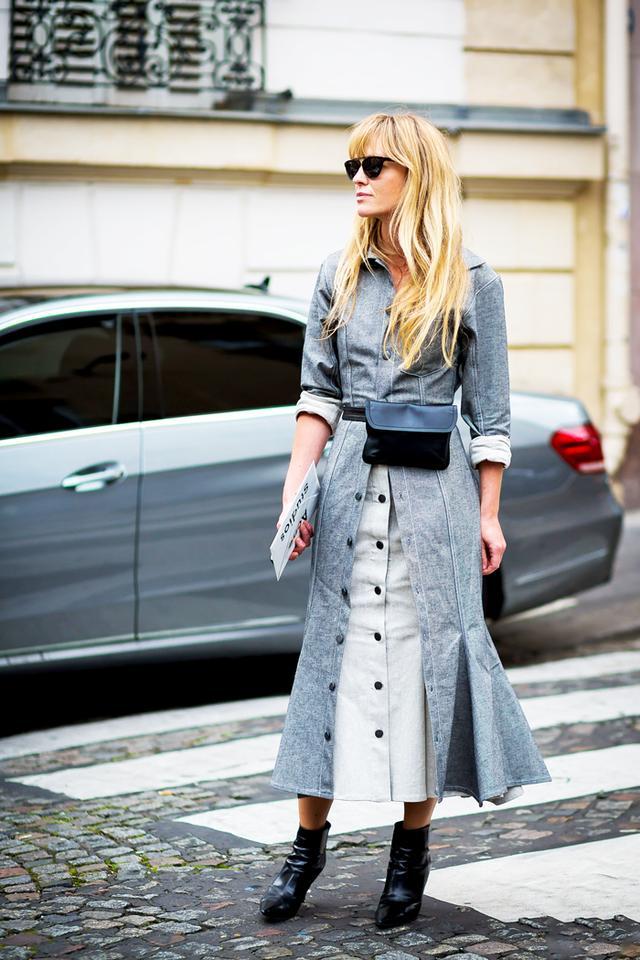 Shirtdress + Belt Bag + High-Heel Booties