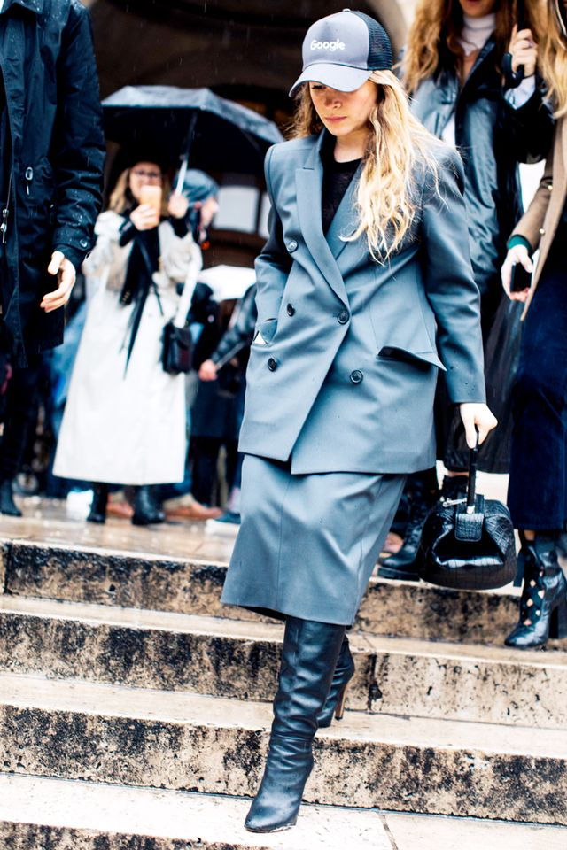 gray suit outfit