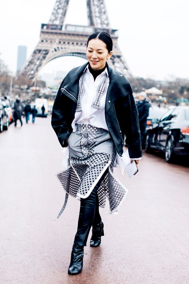 Button-Down Shirt + Skirt + Leather Jacket + Over-the-Knee Boots