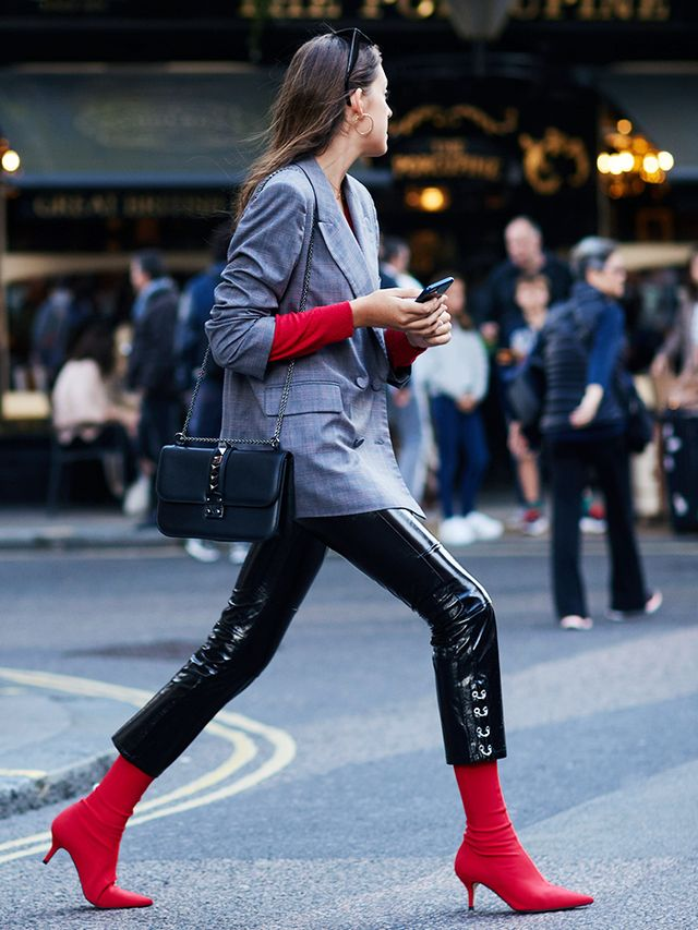 Zara S Red Sock Boots Are Everywhere At Lfw Whowhatwear Uk