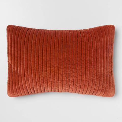 Quilted Velvet Oblong Throw Pillow