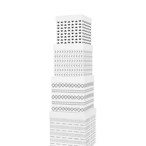 White Mudcloth Cube Gift Box