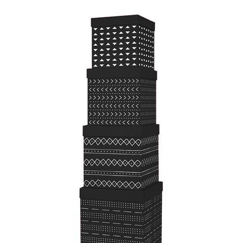 Black Mudcloth Cube Gift Box