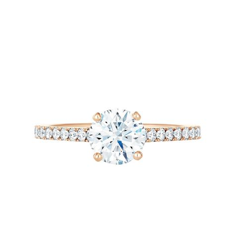Classic Pavé Rose Gold Solitaire Ring