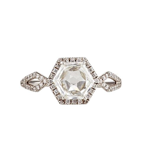 Hexagonal White Diamond Ring
