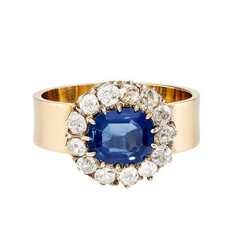 White Diamond & Sapphire Ring