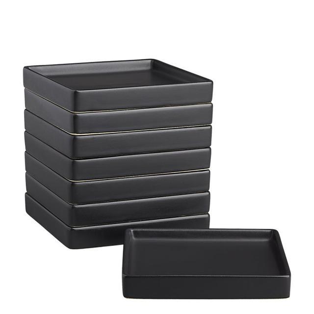 set of 8 bento matte black appetizer plates