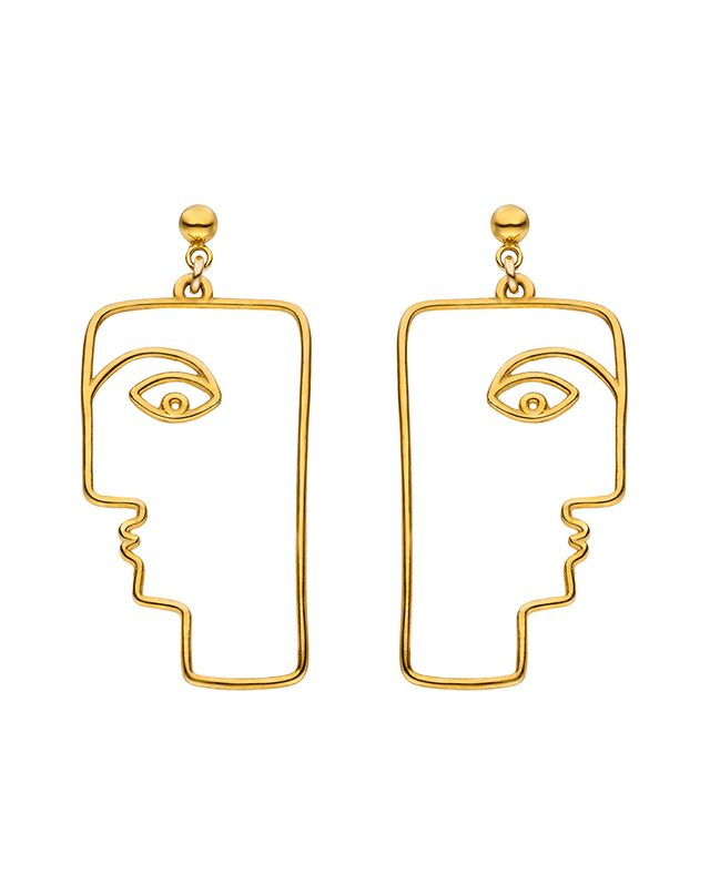 Nina Kastens The Face Earrings Gold