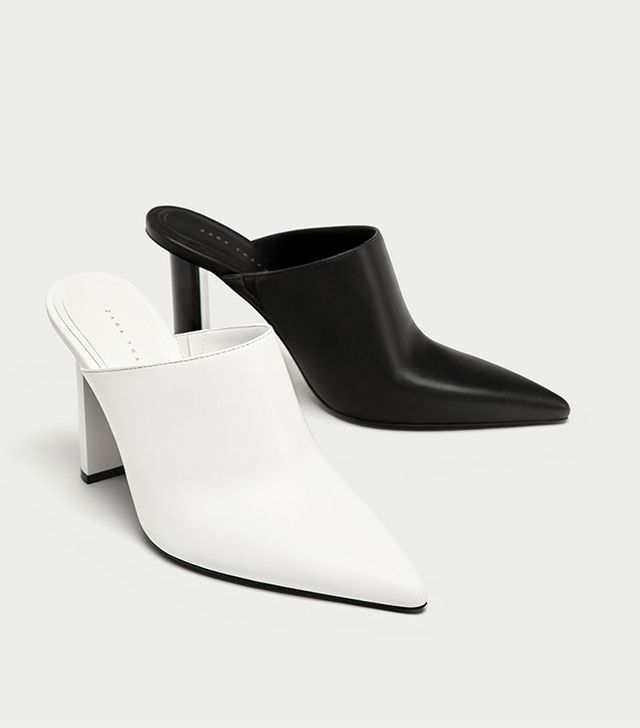 Zara Two-Tone Geometric High Heel Mules