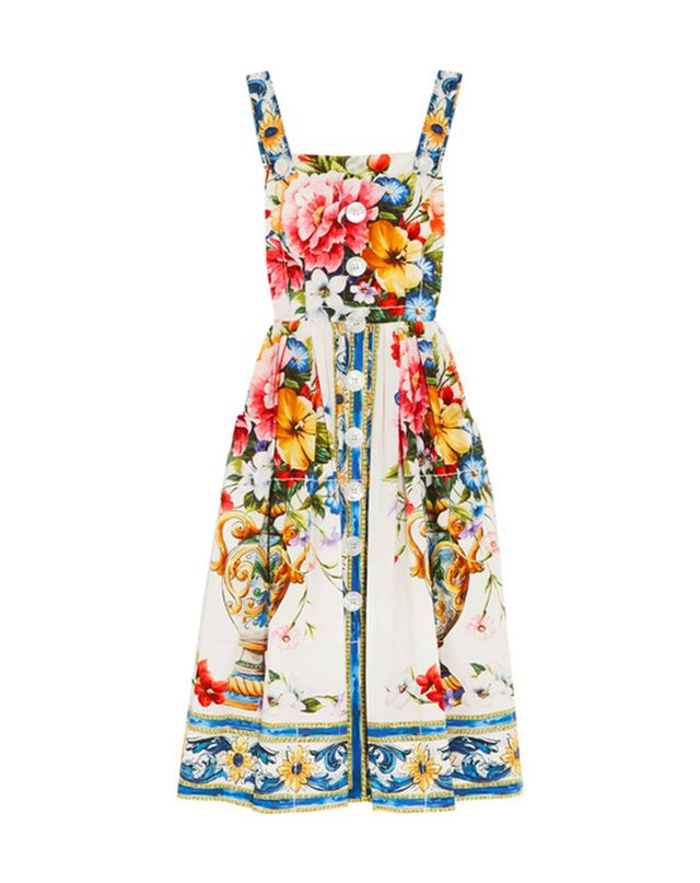 Dolce & Gabbana Floral-Print Cotton-Poplin Midi Dress