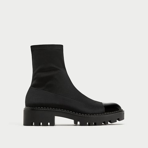 Flat Ankle Boots With Toe Cap Detail