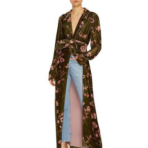 Florari Belted Velvet Kimono Robe