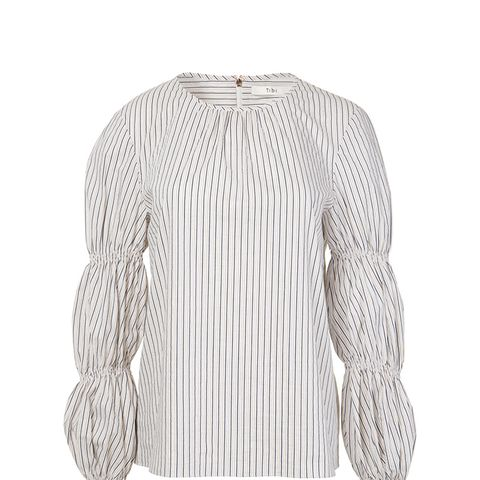 Luxe Striped Shirting Juliet Sleeve Top