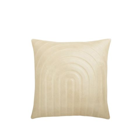 Channel Beige Leather Pillow With Down-Alternative Insert