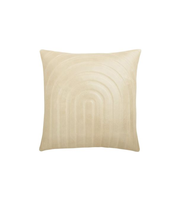 """18"""" Channel Beige Leather Pillow with Down-Alternative Insert"""