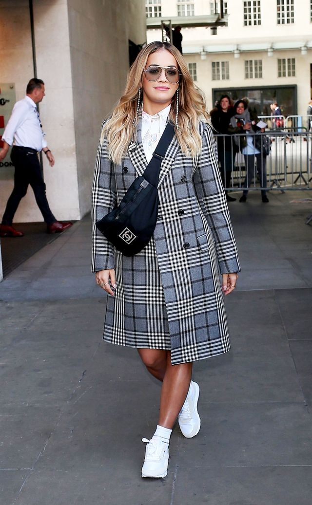 Rita Ora plaid coat street style in Paris
