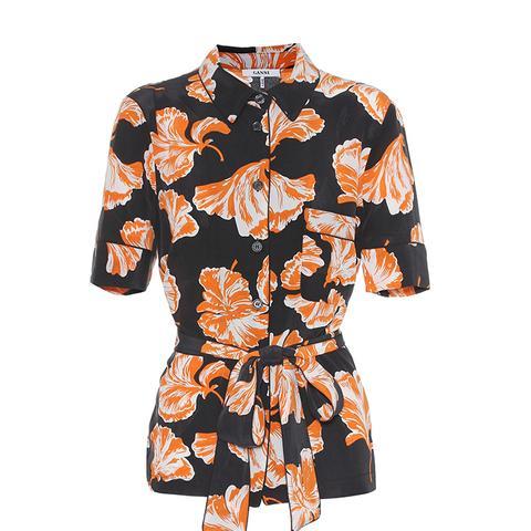 Geroux Floral-Printed Silk Shirt
