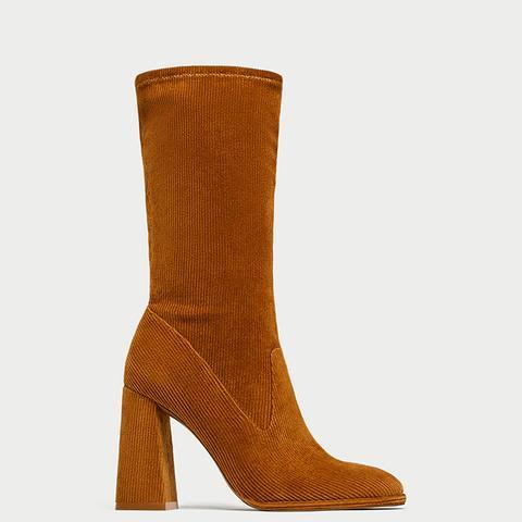Corduroy High Heel Ankle Boots