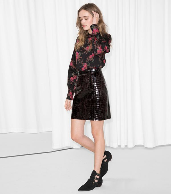 Croco Leather Skirt