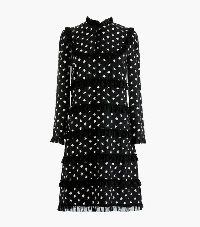 J.Crew Silk Long-Sleeve Dress in Star Print