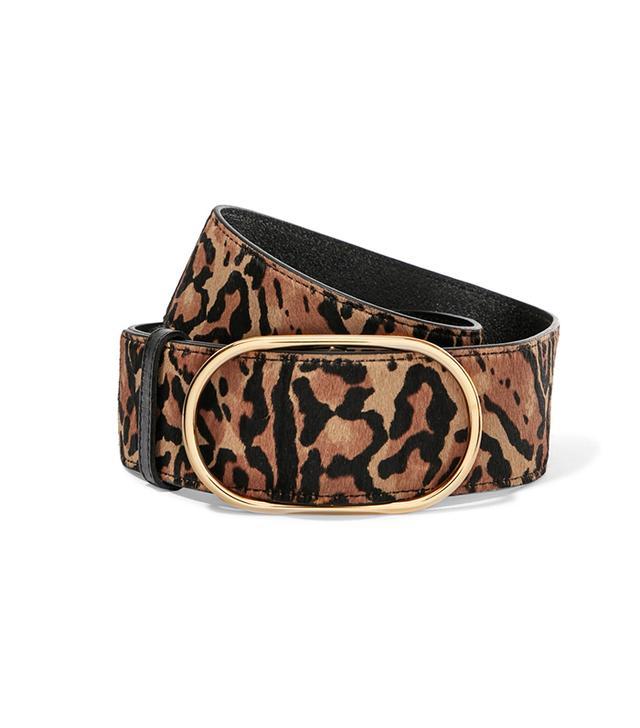 Leopard-print Calf Hair Belt