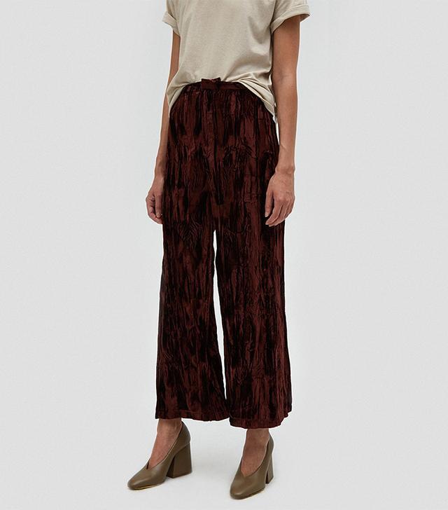 Collina Strada Box Pants in Brown Velvet