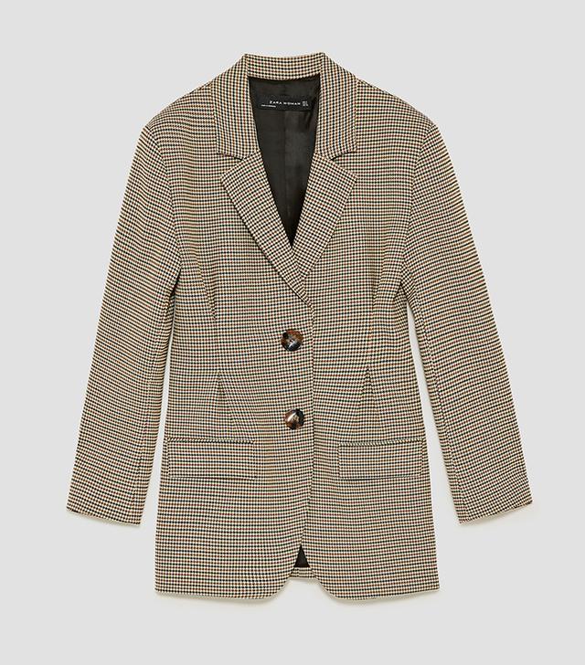 Zara Checked Jacket With Darts