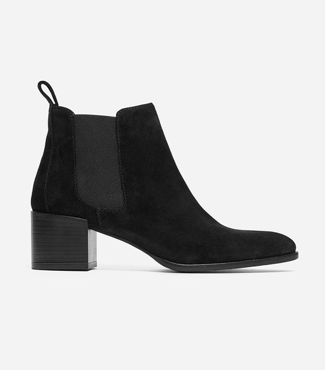 Suede Women's Heeled Booties by Everlane in Black Suede, Size 5