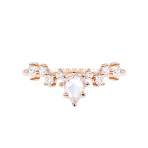Rose Cut Pear Diamond Cluster Ring