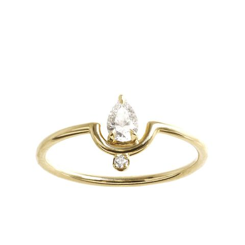 Nestled Pear Diamond Ring
