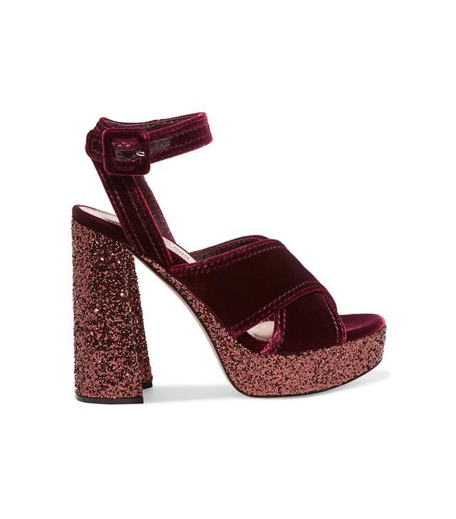 Glittered Velvet Platform Sandals
