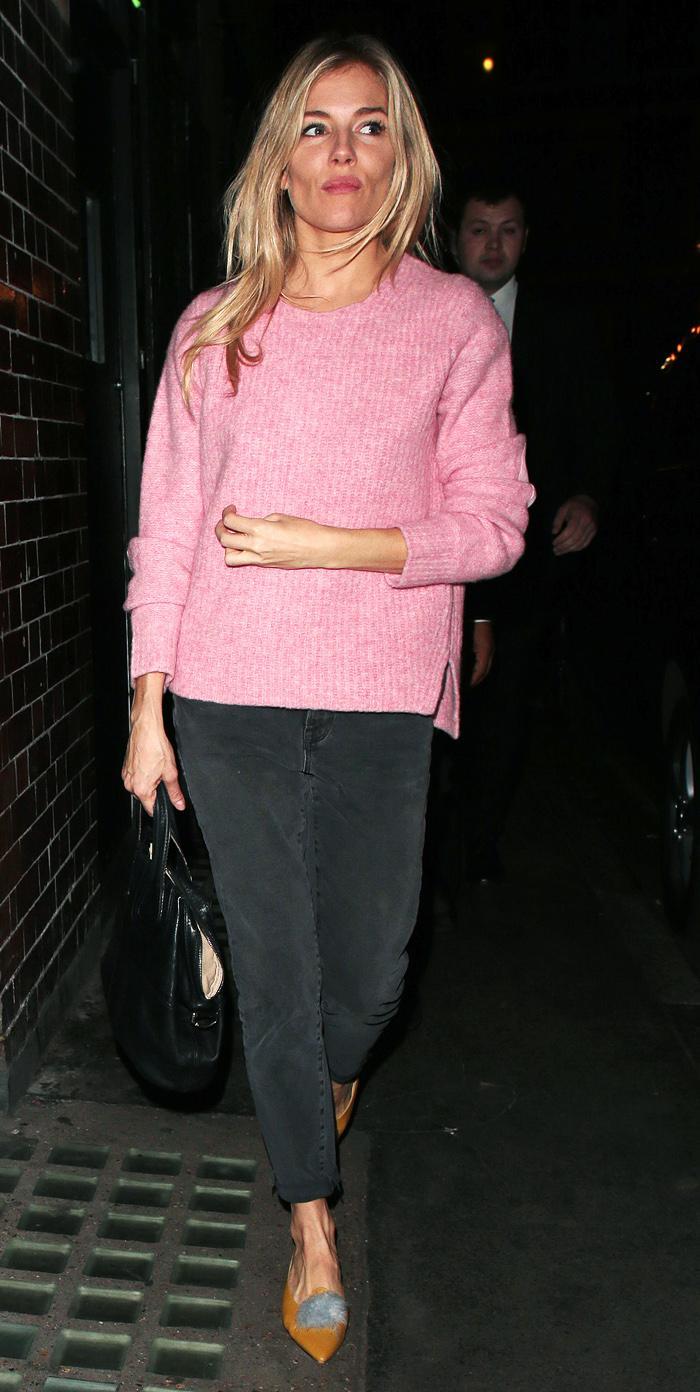 Sienna Miller pink jumper