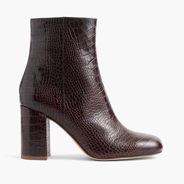 Croc-stamped zip boots