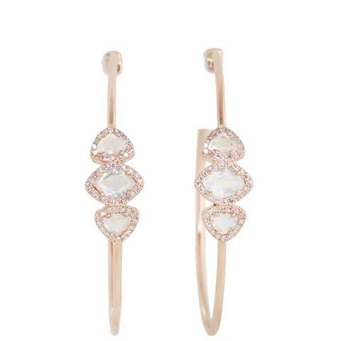 Diamond and Moonstone Hoop Earrings