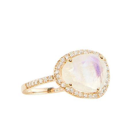 Single Band Diamond and Moonstone Ring