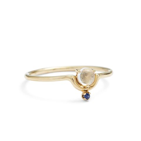 Nestled Moonstone and Sapphire Ring