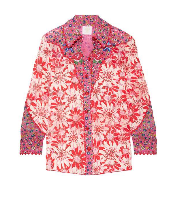 Embroidered Printed Silk-crepon Shirt