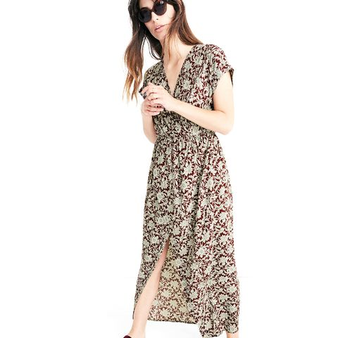 Wrap-Front Maxi Dress in Estate Floral