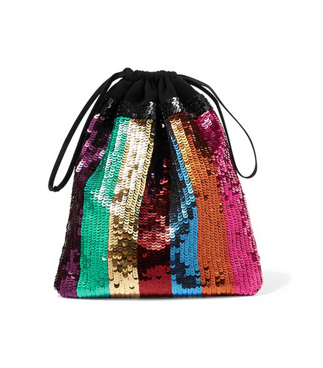 Rosie Striped Sequined Gauze Clutch