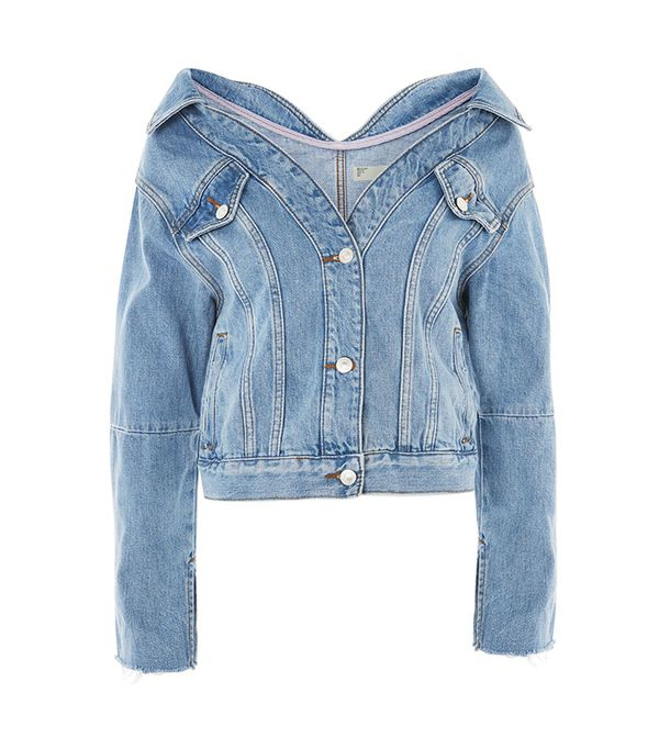 MOTO Off Shoulder Denim Jacket